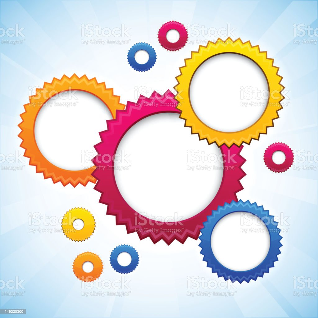 Colorful background with gear circles. vector art illustration