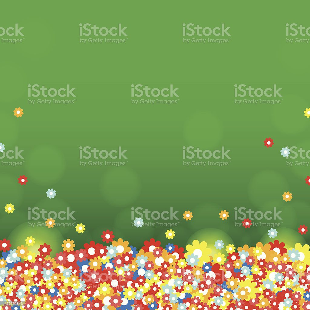 Colorful background with green and flowers royalty-free stock vector art