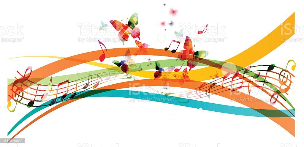 Colorful background with music notes and butterflies vector art illustration
