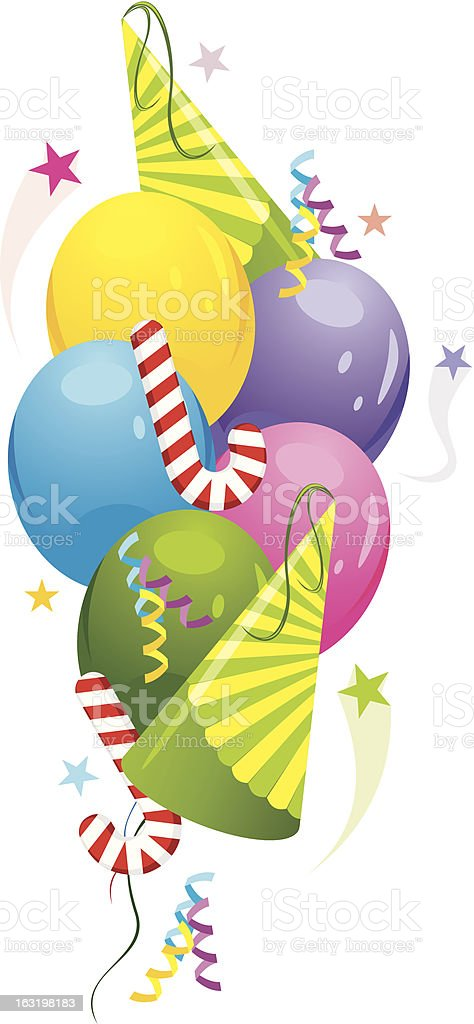 Colorful balloons and festive tinsel royalty-free stock vector art