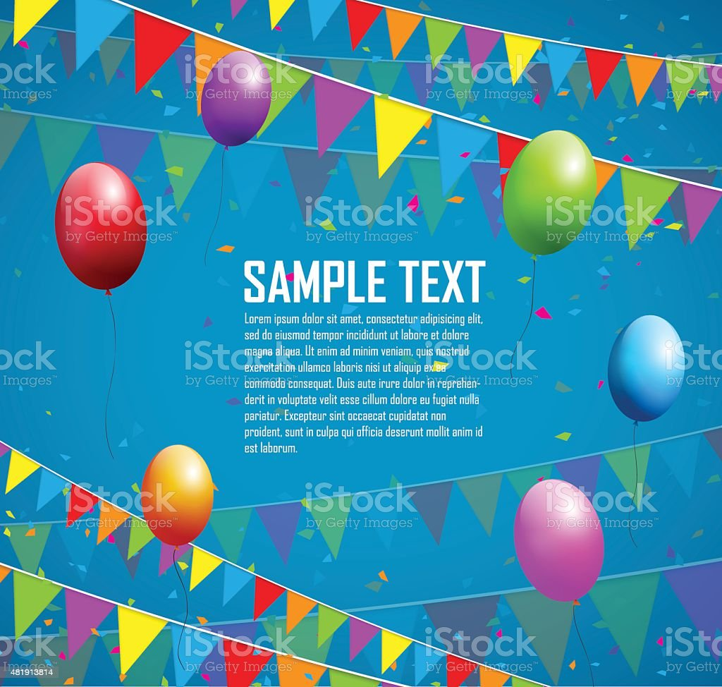 Colorful balloons, flags and confetti vector art illustration