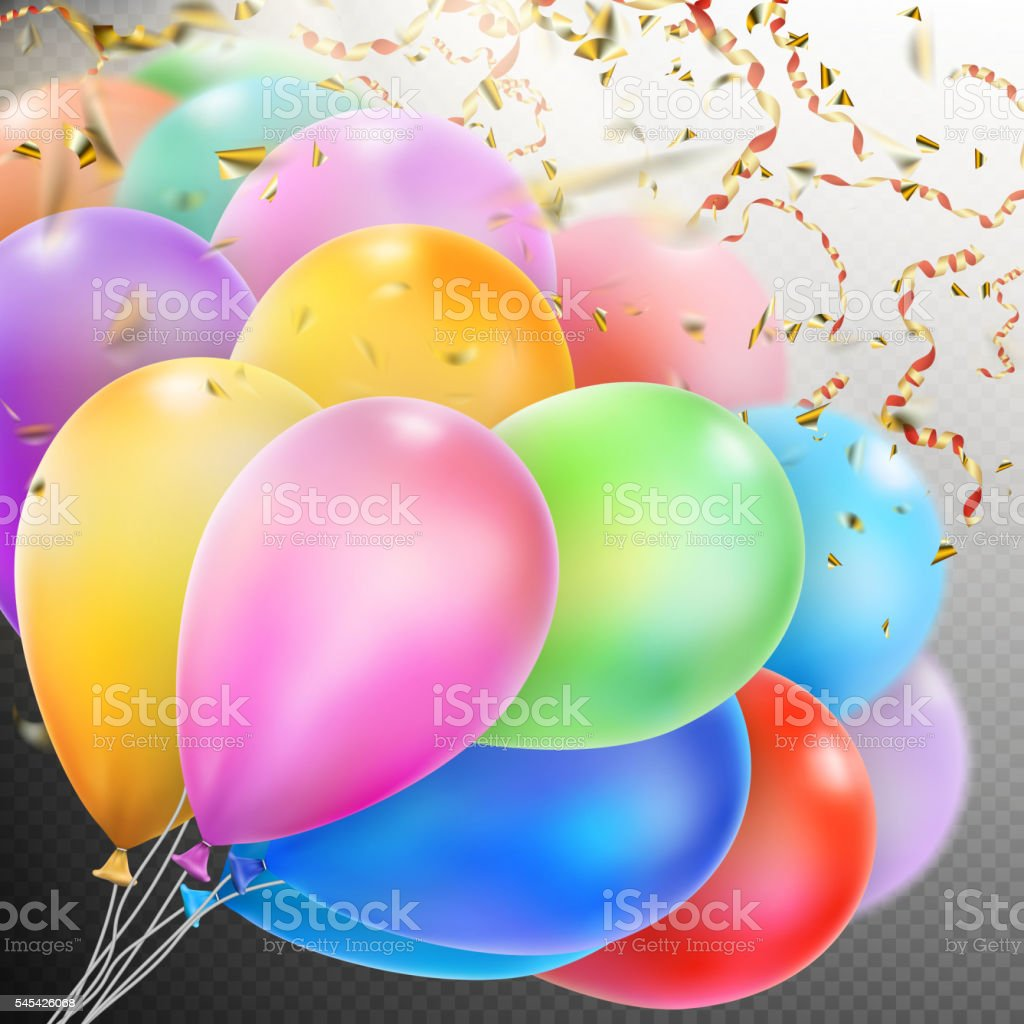 Colorful Balloons with confetti. EPS 10 vector art illustration