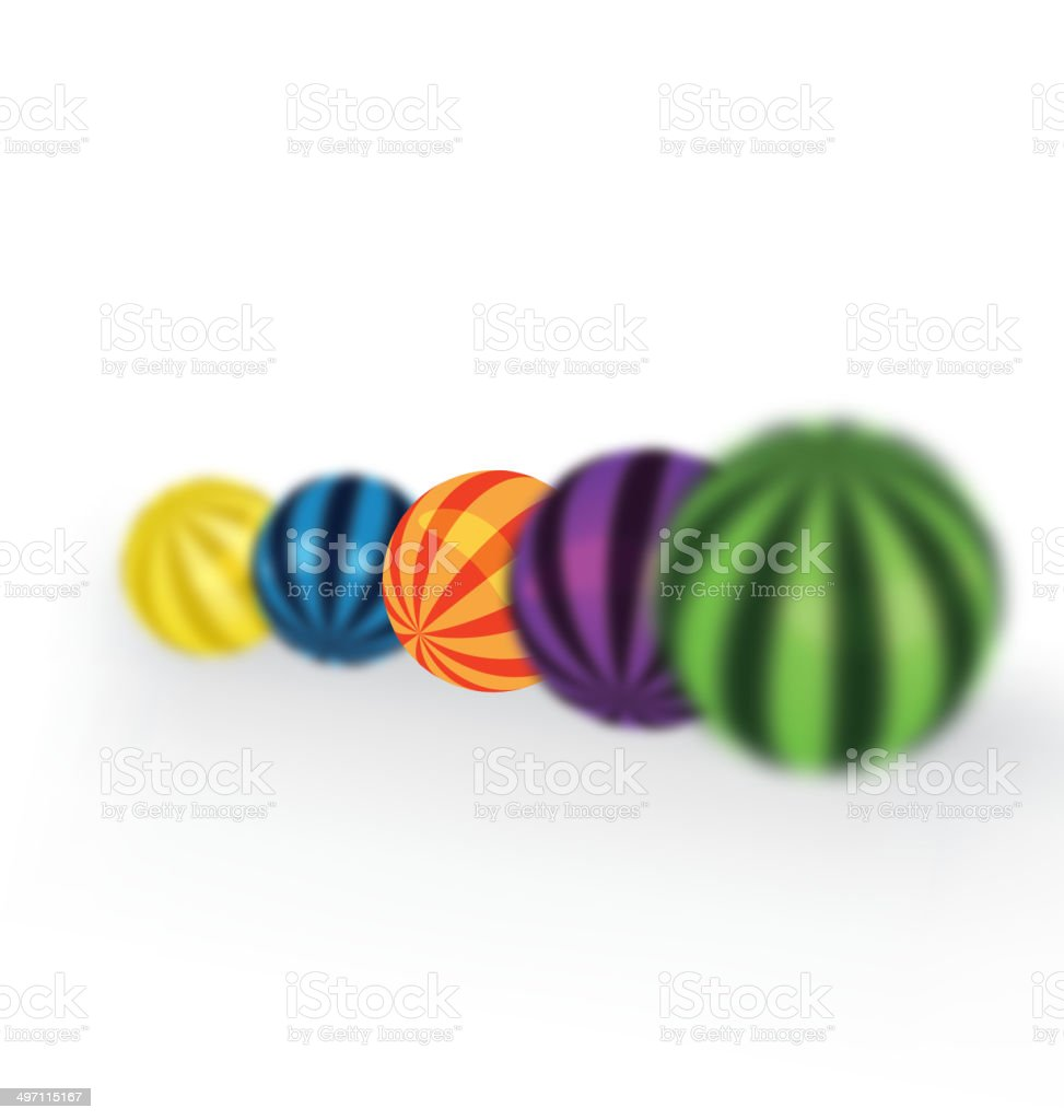 Colorful balls focus vector art illustration