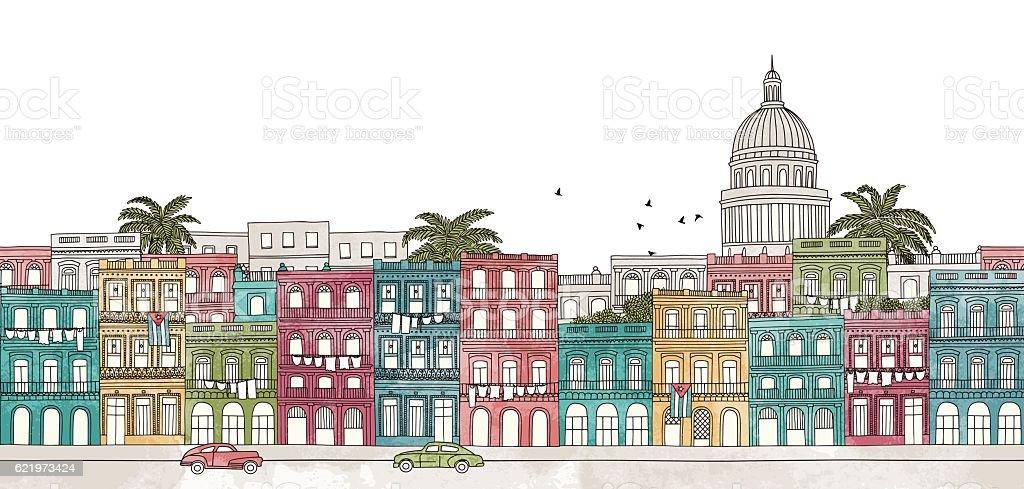 Colorful banner of Havana's skyline vector art illustration