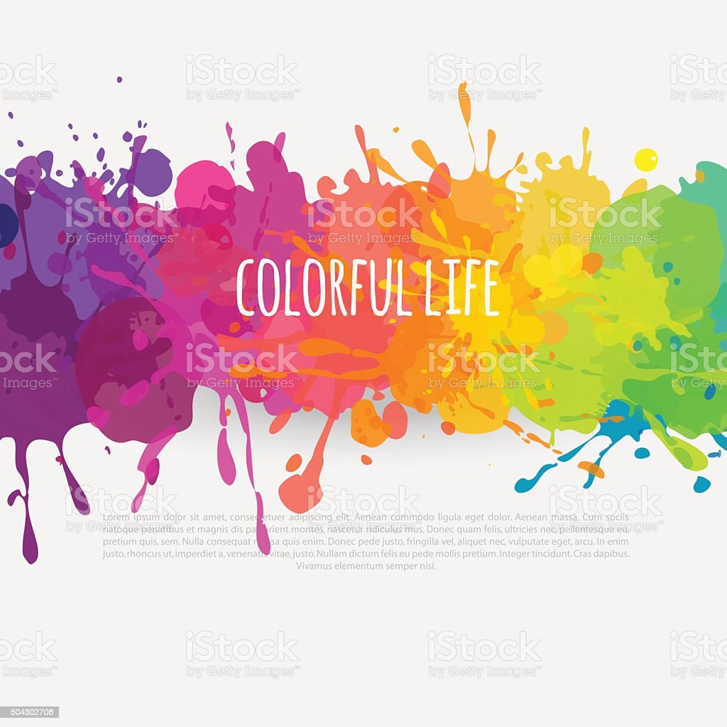 colorful banner with paint stains vector art illustration