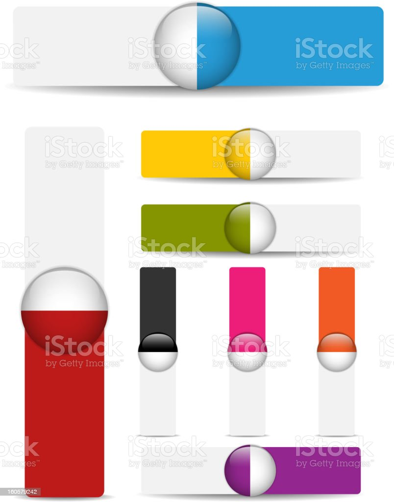 Colorful Banners with Blank Space and Glossy Buttons royalty-free stock vector art