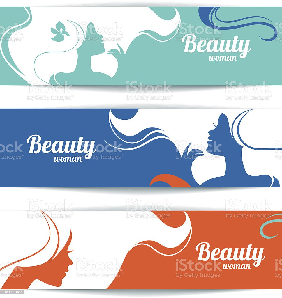 Colorful banners with stylish beautiful woman vector art illustration