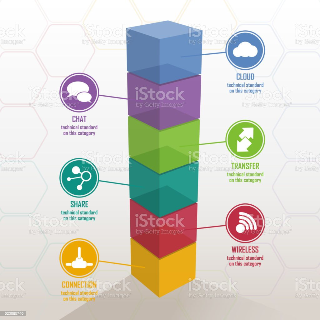 3D Colorful Bar Chart vector art illustration