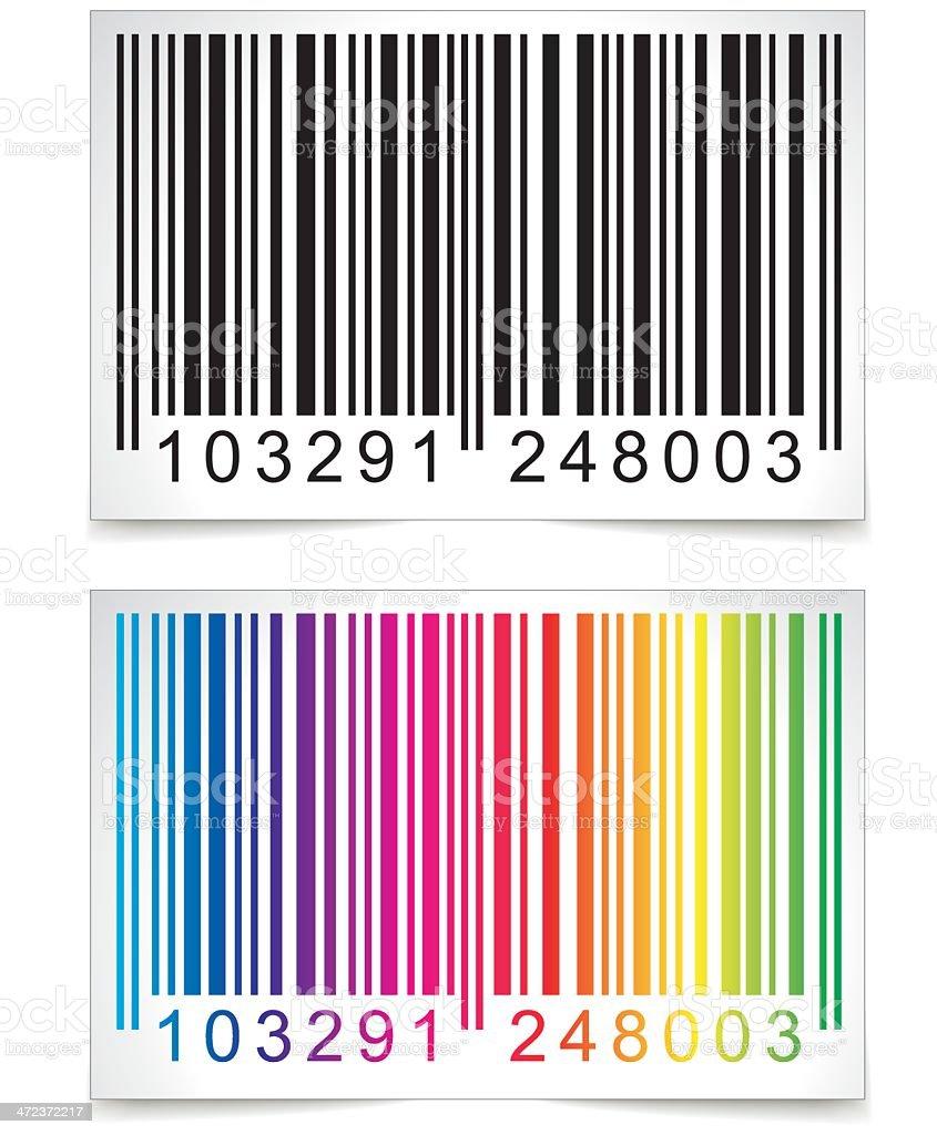 Colorful bar code below a regular one vector art illustration