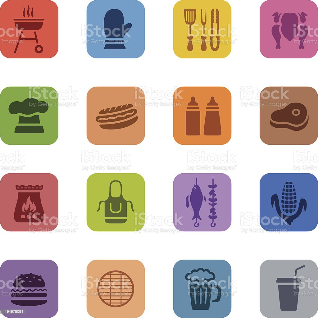 Colorful Barbecue Grill Icons vector art illustration