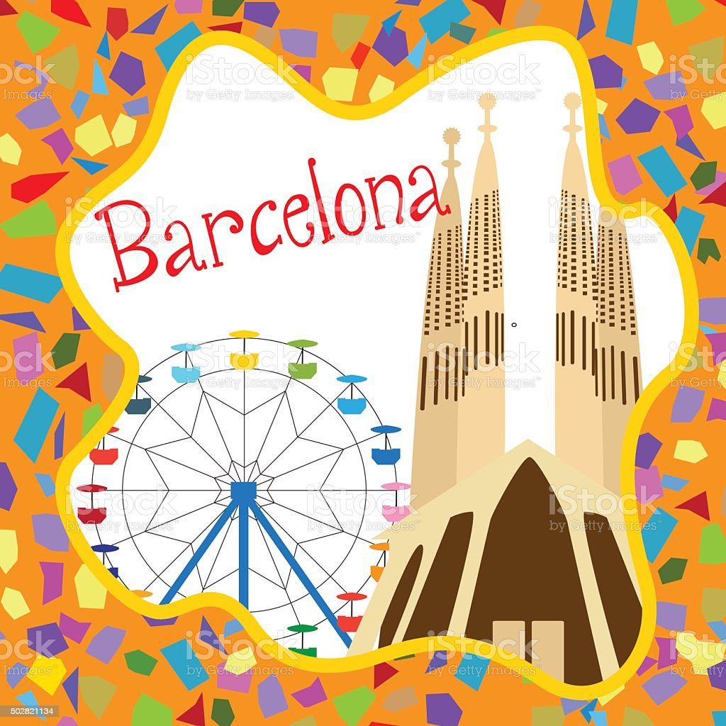 Colorful Barcelona card with Sagrada Familia vector art illustration
