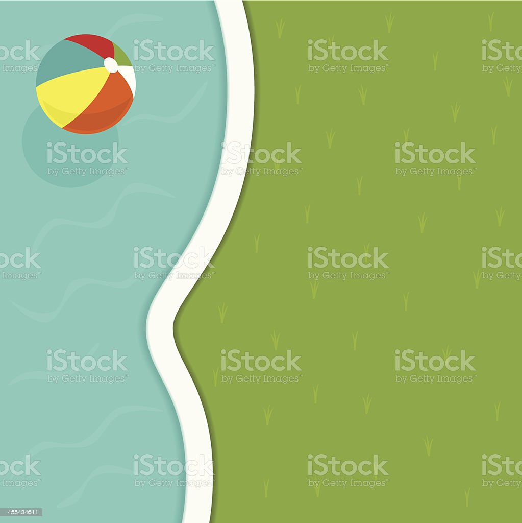 Colorful beach ball in swimming pool vector art illustration