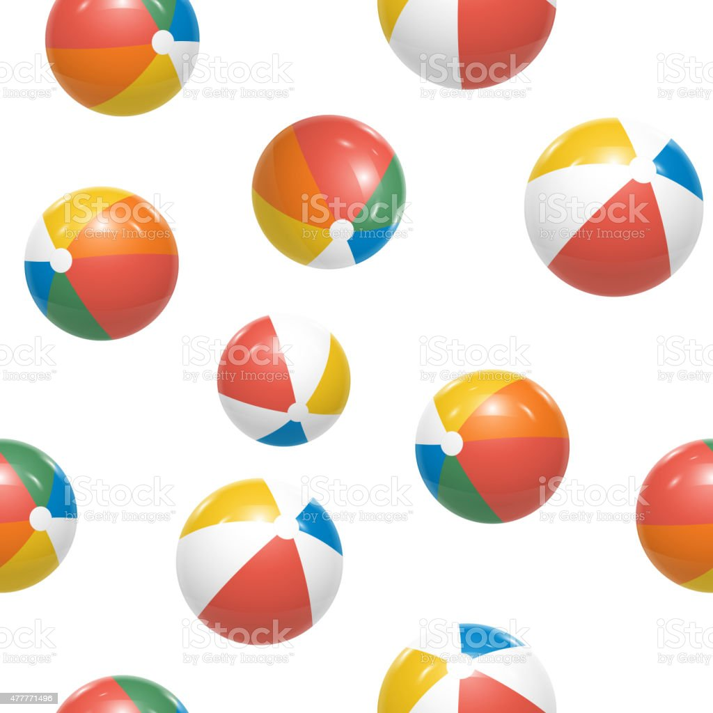 Colorful Beach balls Seamless Pattern Vector vector art illustration