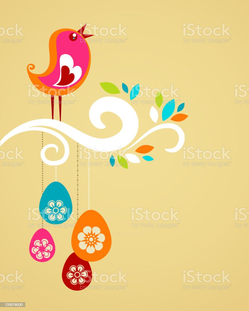 Colorful bird on branch with Easter baubles royalty-free stock vector art