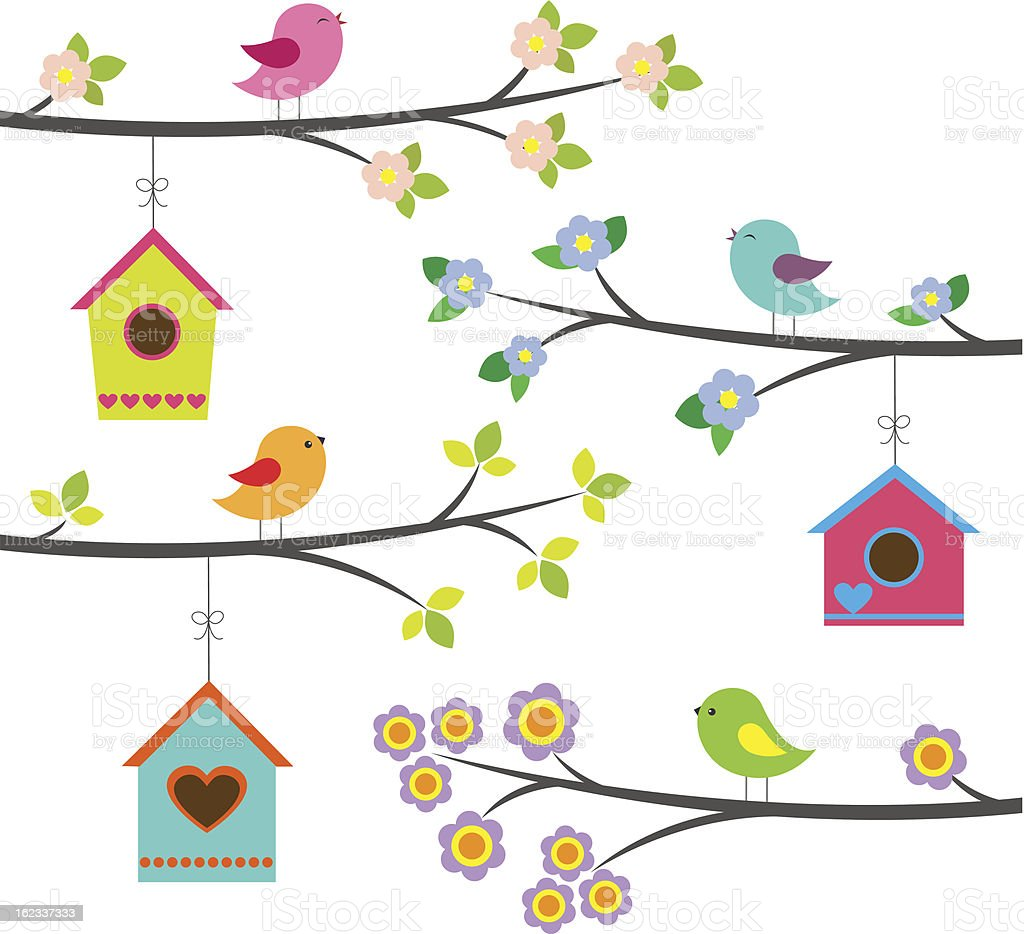 Colorful birds and birdhouses vector art illustration