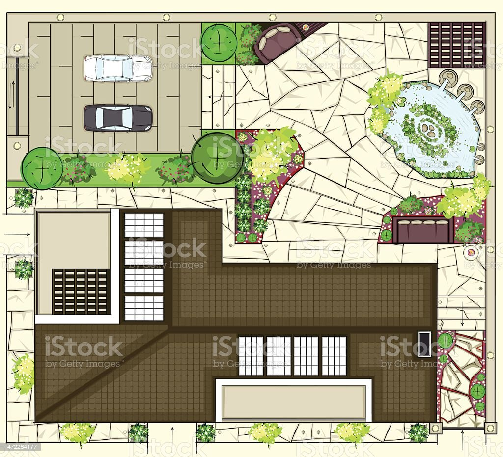 Colorful birds eye view of house layout royalty-free stock vector art