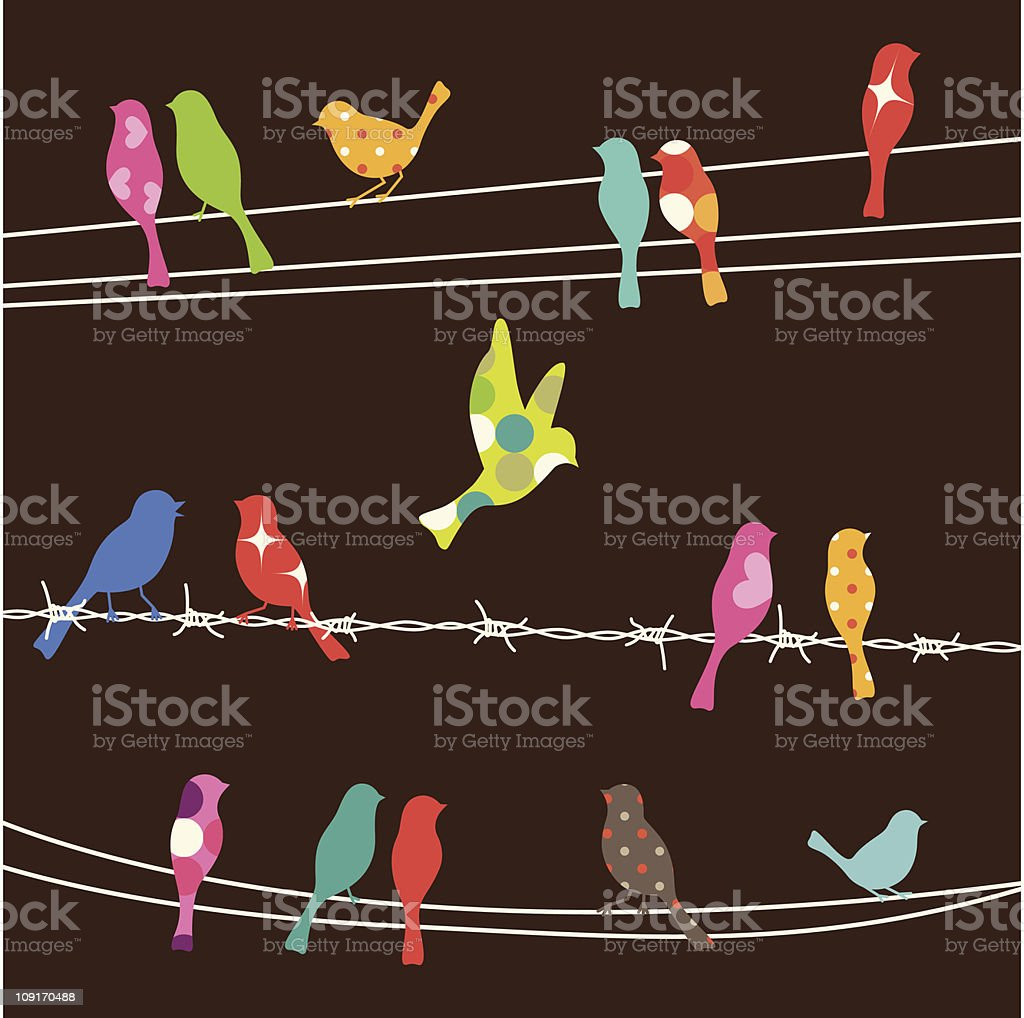 Colorful birds on wires on brown vector art illustration