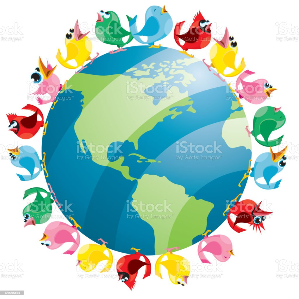 Colorful BIrds Tweet Around the Earth North America vector art illustration