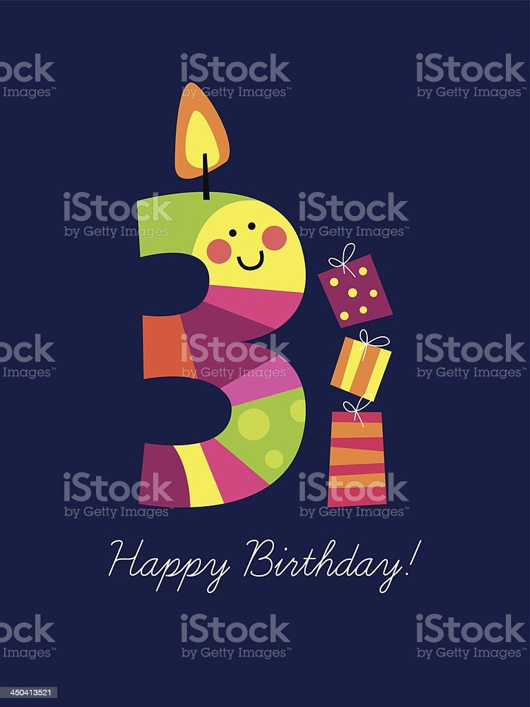 Colorful birthday card with a smiling third birthday candle royalty-free stock vector art