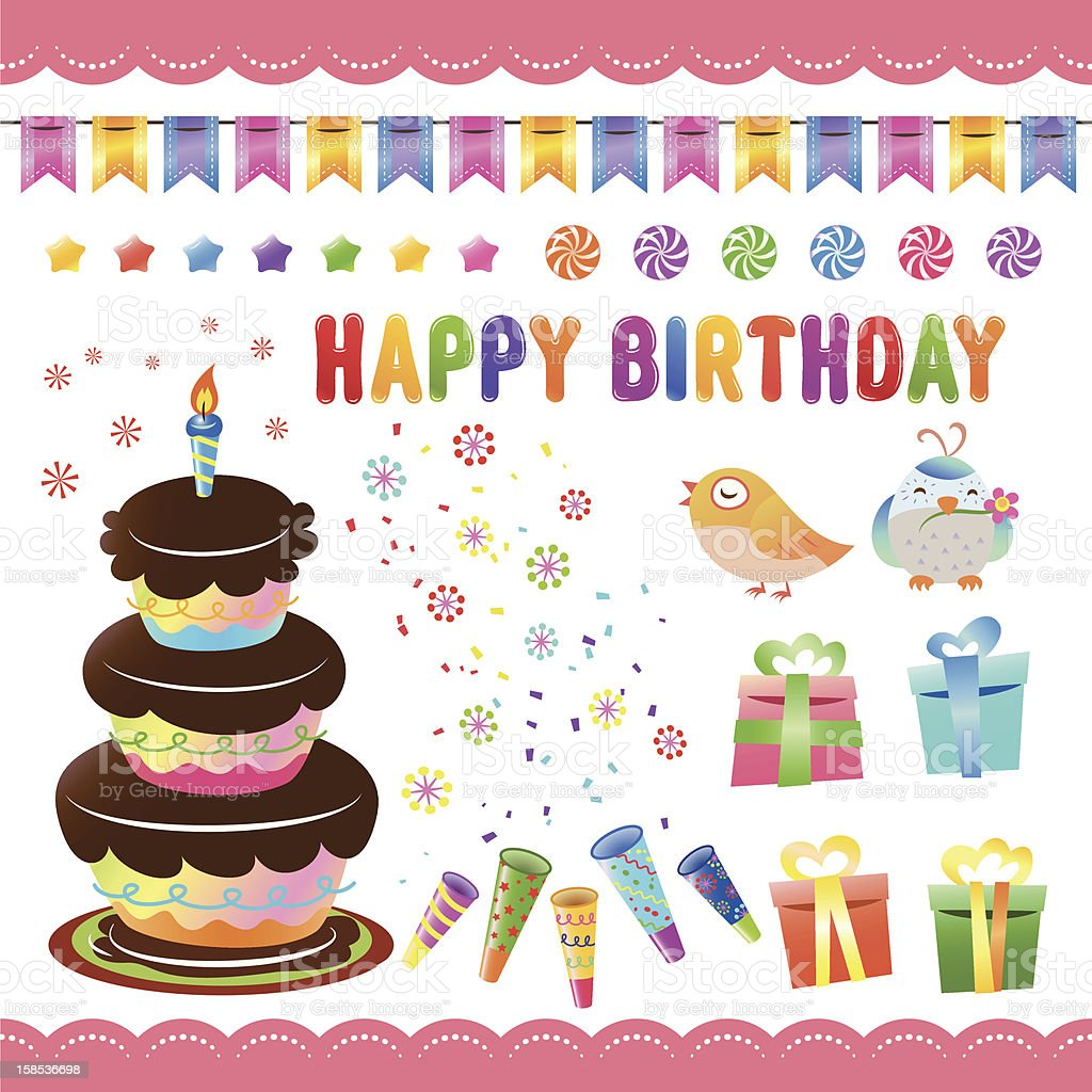 Colorful Birthday Set royalty-free stock vector art