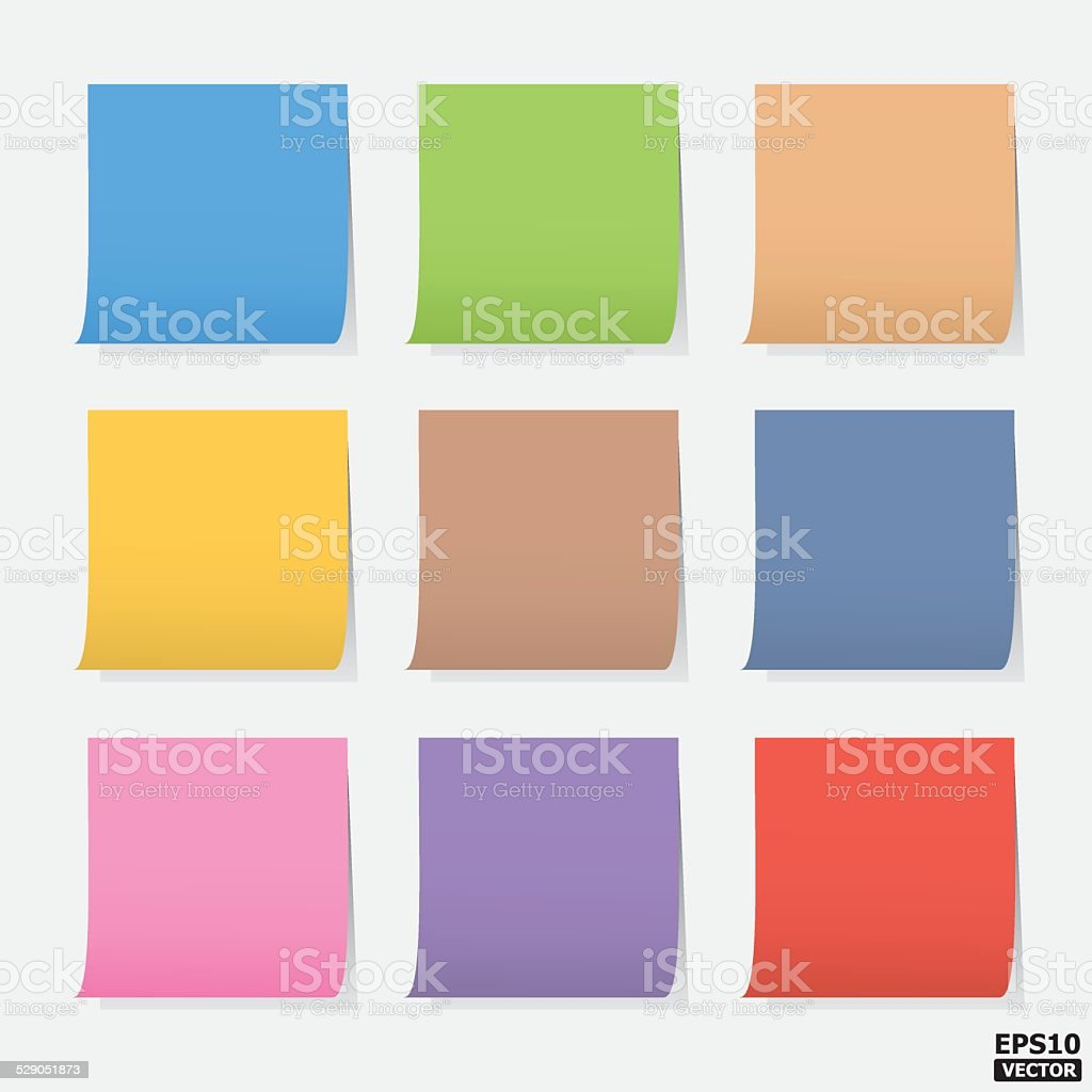 Colorful blank notes or colorful paper notes.-eps10 vector royalty-free stock vector art