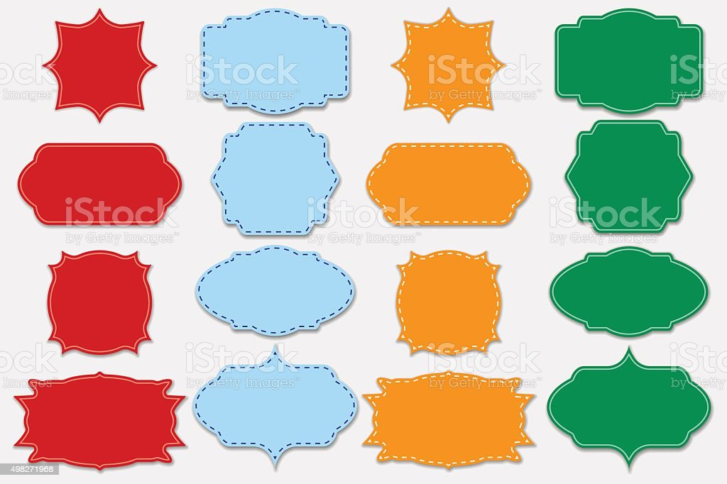 Colorful blank vintage labels set in four colors vector art illustration