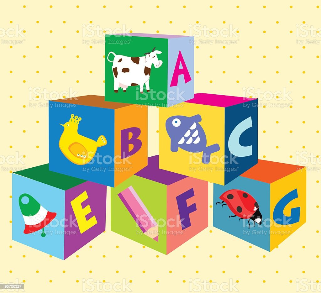 Colorful Blocks With Pictures and Letters on Dotted Yellow Background royalty-free stock vector art
