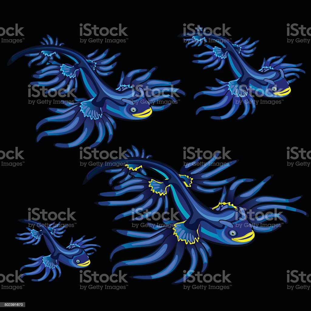 Colorful blue tropical fishes with yellow fins vector art illustration