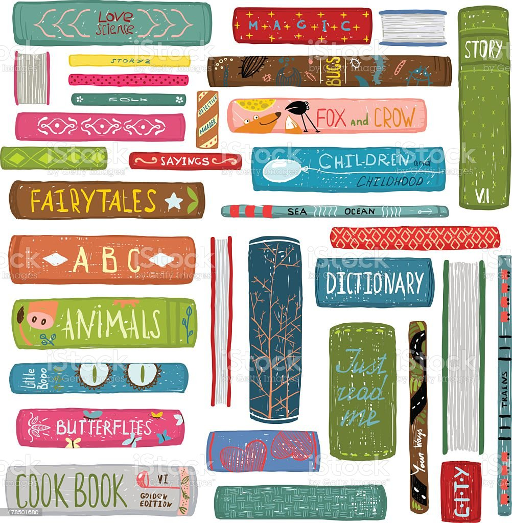 Colorful Books Drawing Library Collection vector art illustration