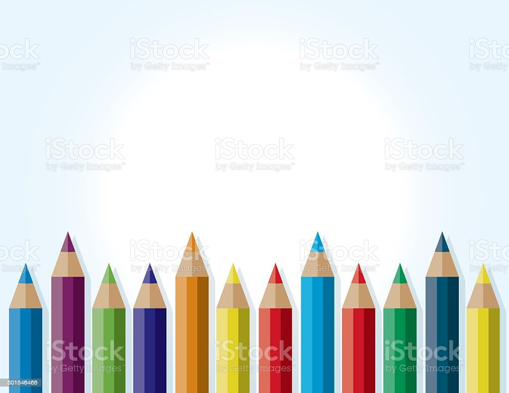 Colorful Border Background of Colored Pencils vector art illustration