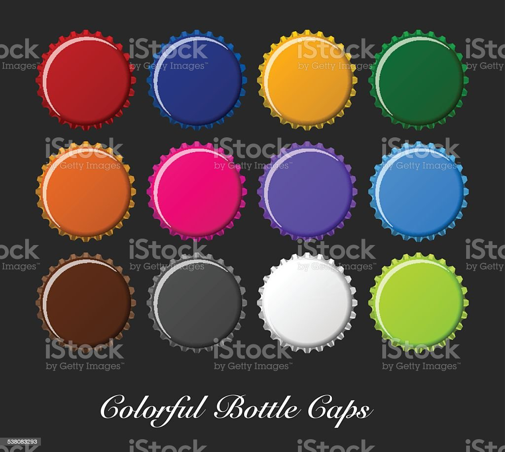 colorful bottle caps, bottle caps vector vector art illustration