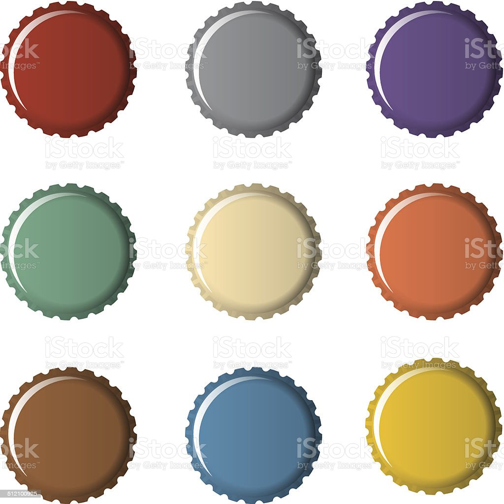 Colorful bottle caps vector art illustration