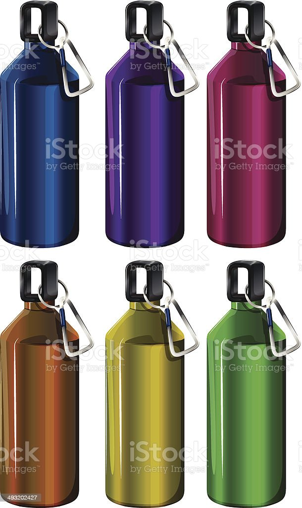 Colorful bottles vector art illustration