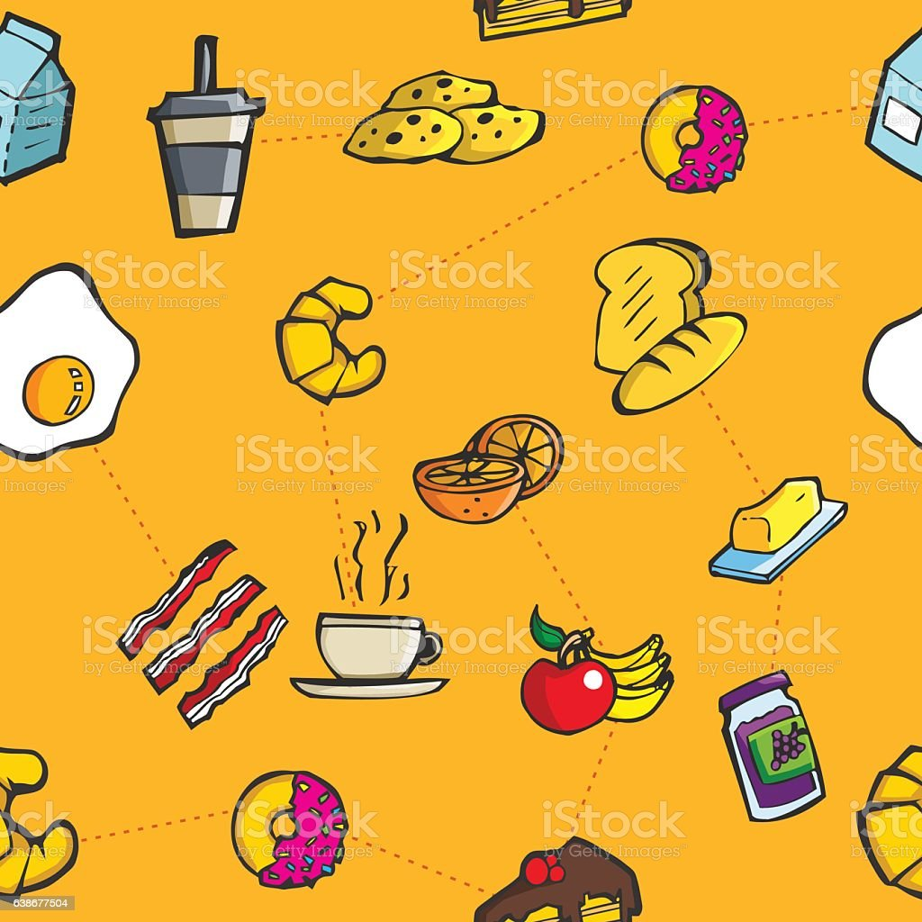 Colorful breakfast and meal seamless pattern vector art illustration