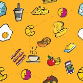 Colorful breakfast and meal seamless pattern