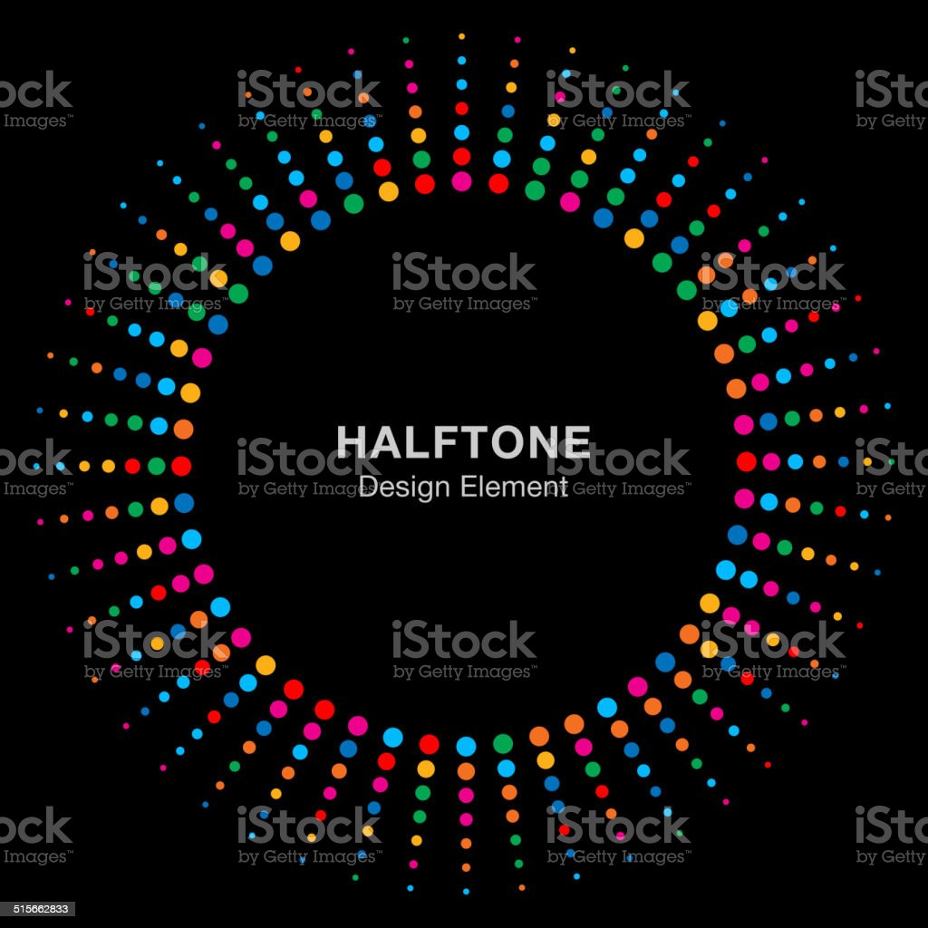 Colorful Bright Abstract Halftone Design Element on black background vector art illustration