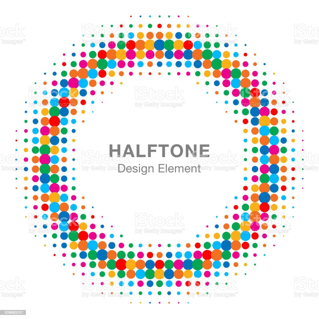 Colorful Bright Abstract Halftone Design Element vector art illustration