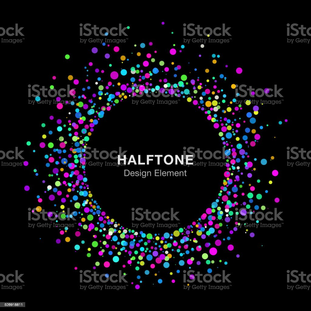 Colorful Bright Abstract Halftone Logo Design Element on Black Background vector art illustration