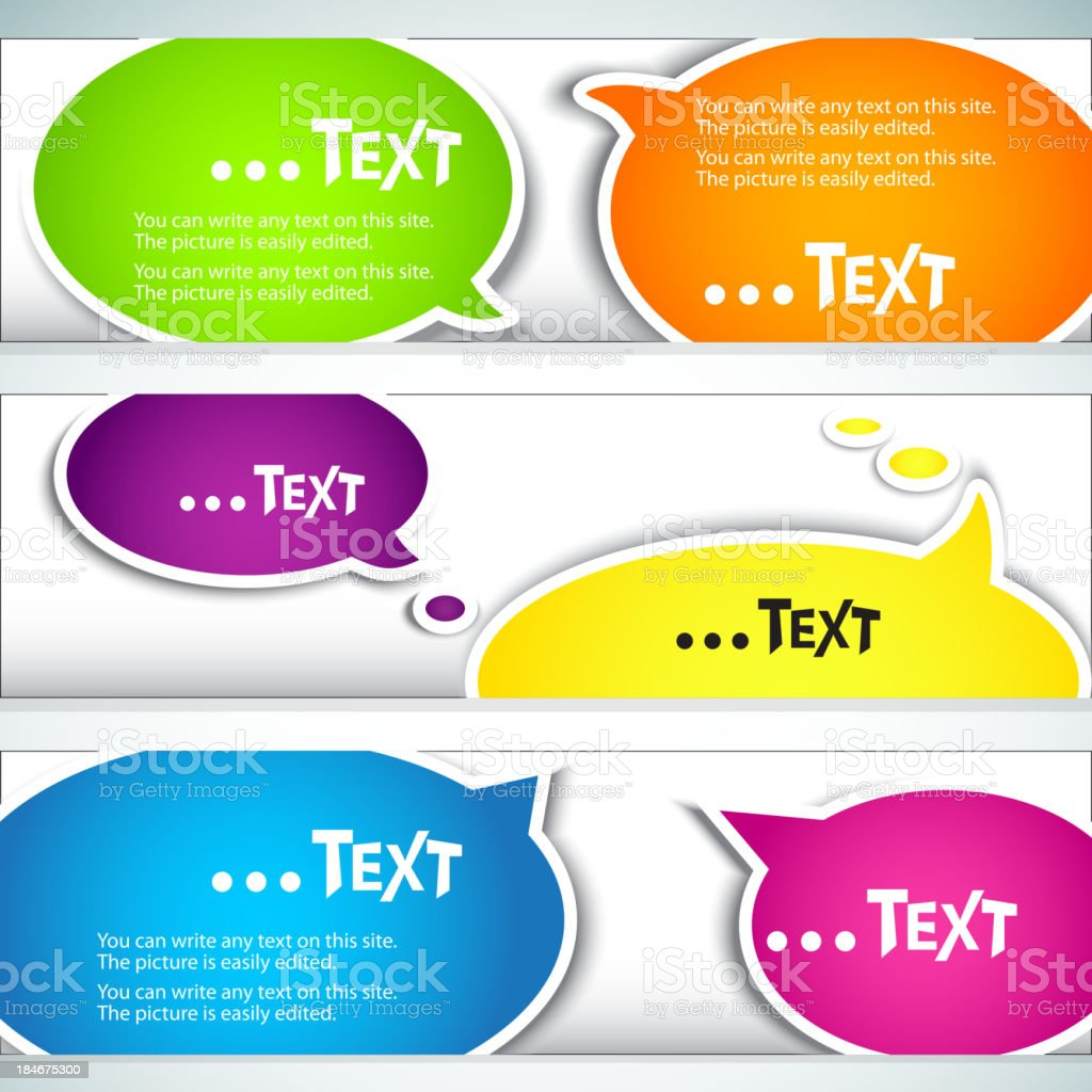 Colorful  bubble for speech. Set of banners royalty-free stock vector art