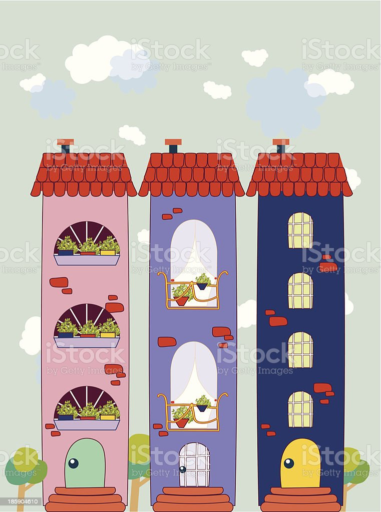 Colorful buildings design vector background. royalty-free stock vector art