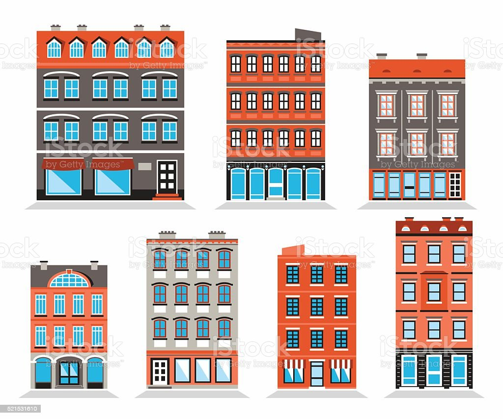 Colorful Building's Facades vector art illustration
