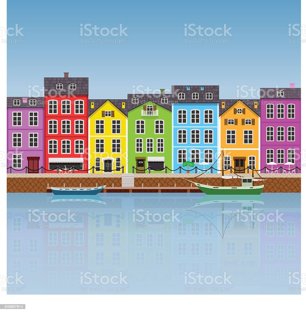 Colorful Buildings vector art illustration