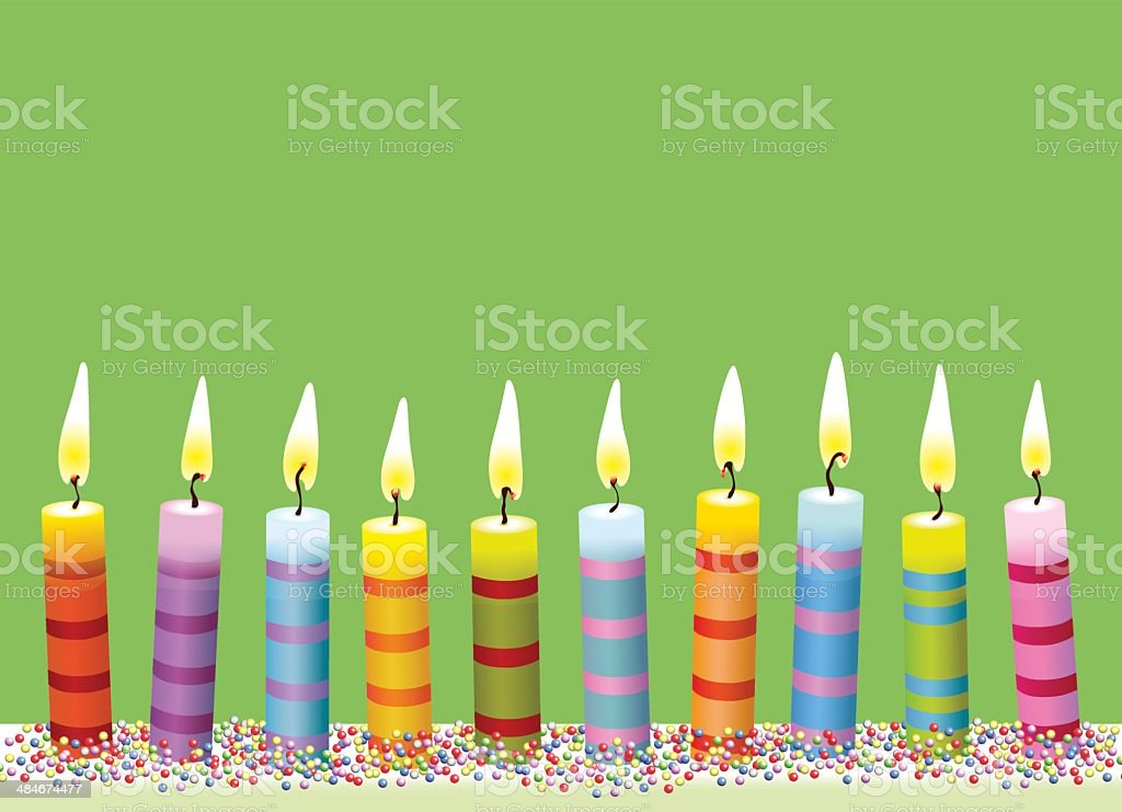 Colorful burning candle on green background vector art illustration