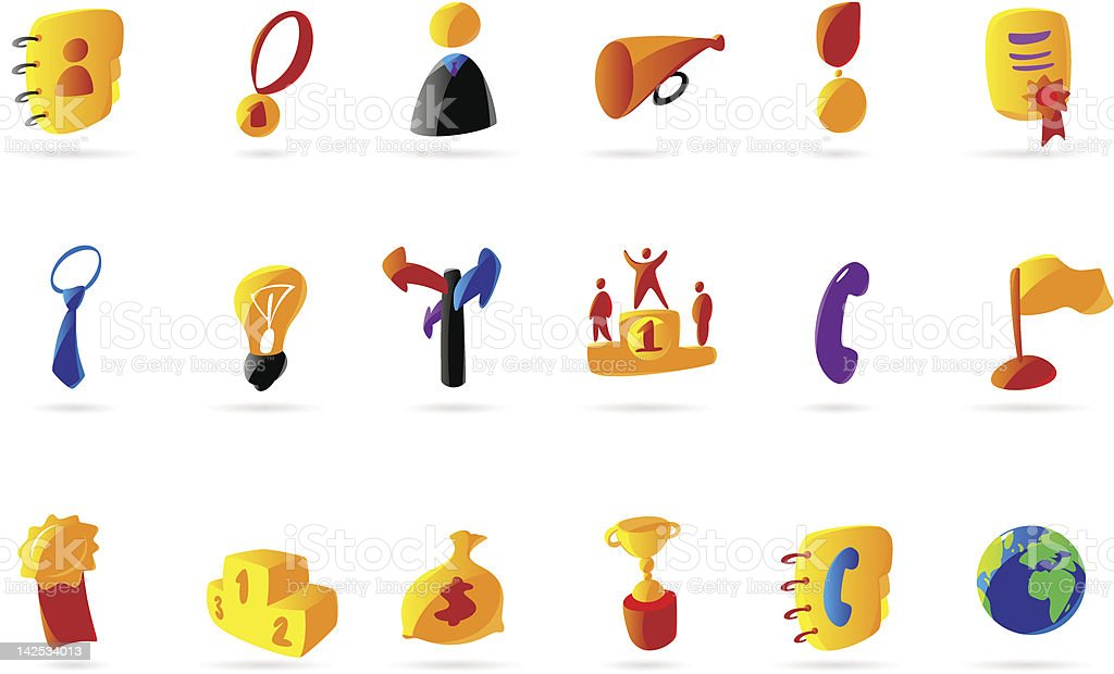 Colorful business and success icons royalty-free stock vector art