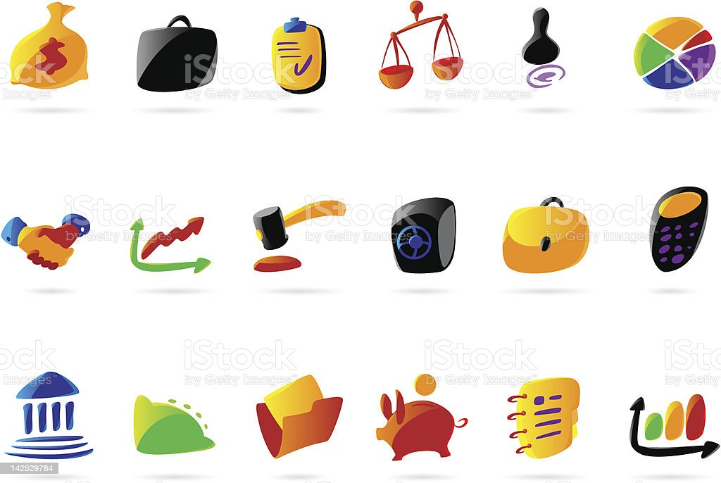Colorful business, finance and legal icons royalty-free stock vector art
