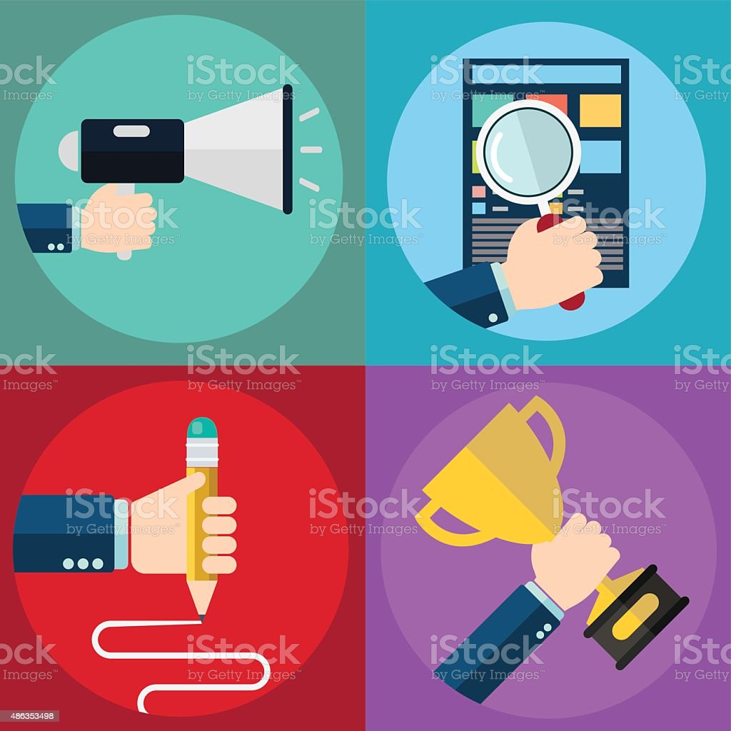 Colorful business, marketing, success, seo and education. vector art illustration