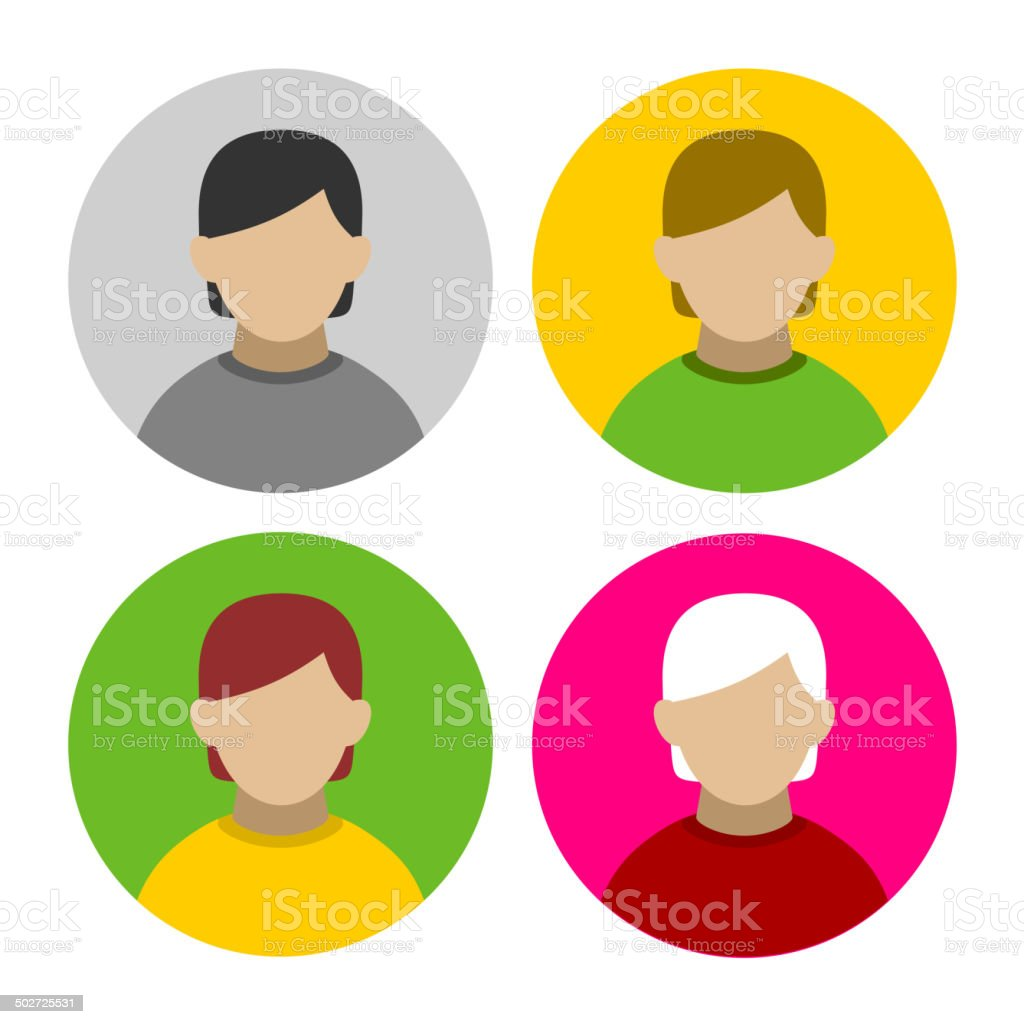 Colorful Businessman Userpics Icons Set in Flat Style. Vector royalty-free stock vector art