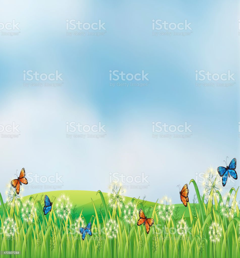 Colorful butterflies in the garden royalty-free stock vector art
