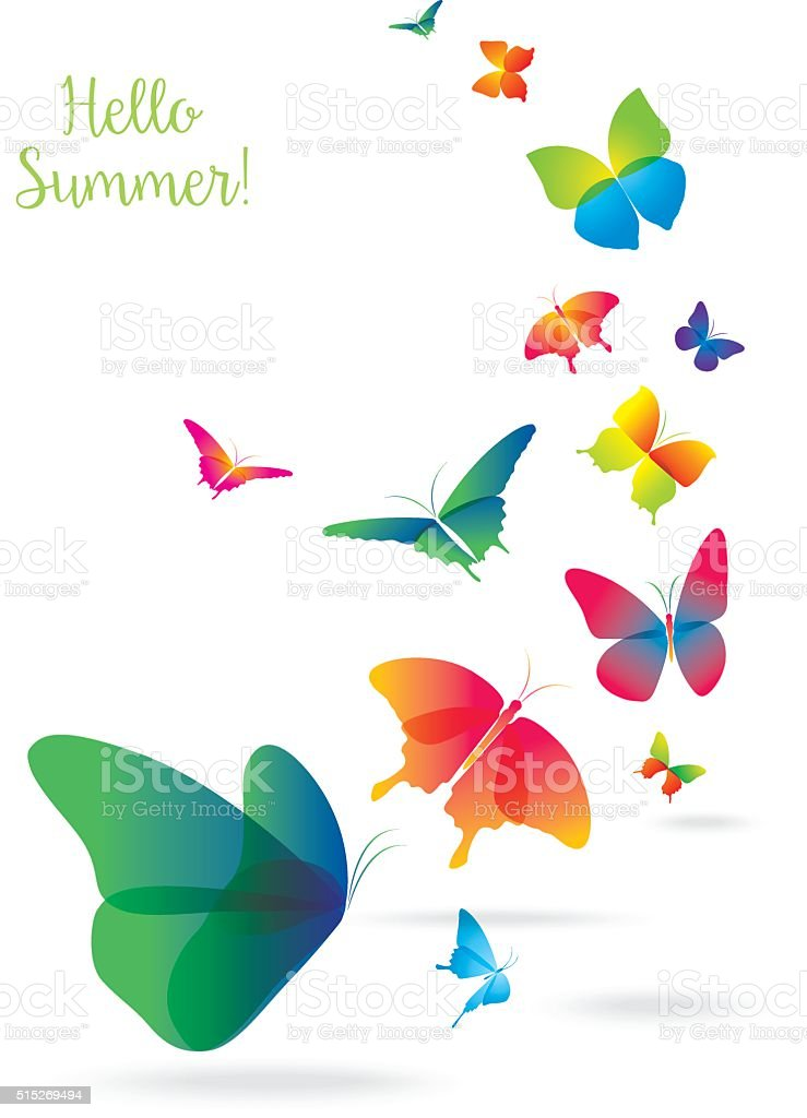 Colorful Butterflies Isolated on White Background. vector art illustration