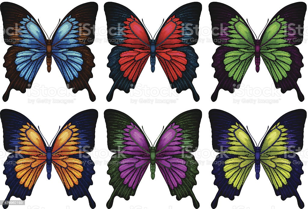 Colorful butterflies vector art illustration
